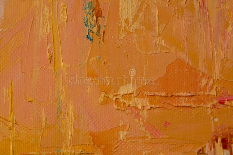 Orange, blue, pink, yellow painting close up, showing texture royalty free stock photo