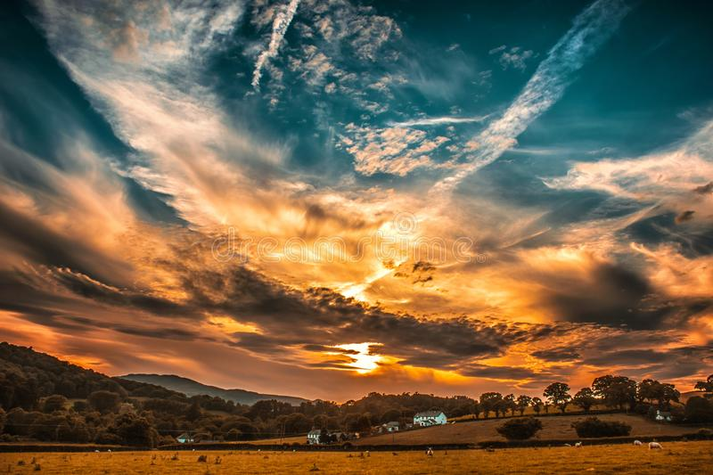 Orange and Blue Skies during Sunset stock photography