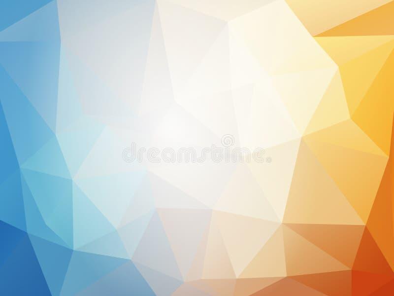 Orange blue summer geometric mosaic background. Modern style stock illustration