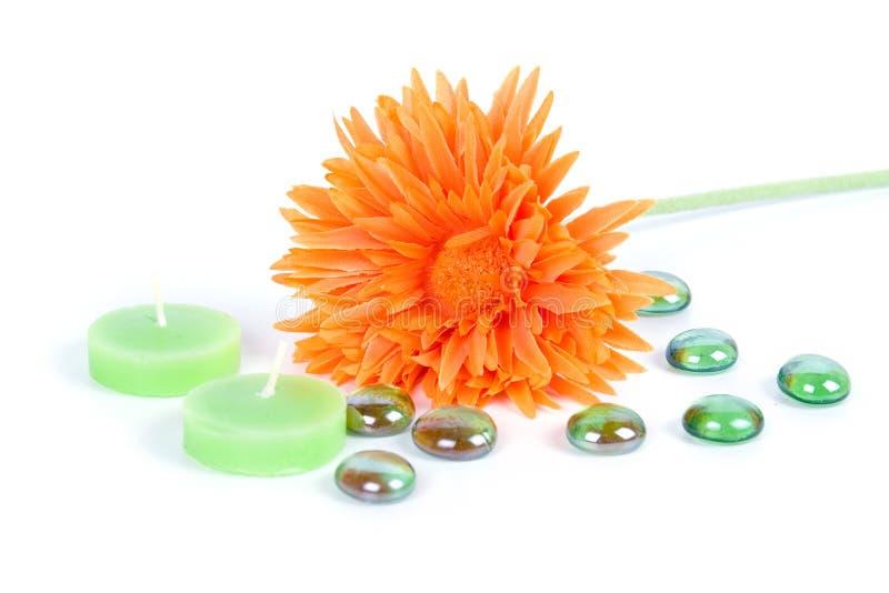 Orange Blume und Kerzen lizenzfreie stockfotografie