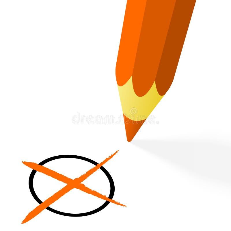 orange blyertspenna med korset royaltyfri illustrationer