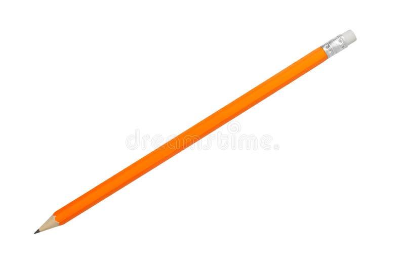 Orange blyertspenna på vit royaltyfria foton