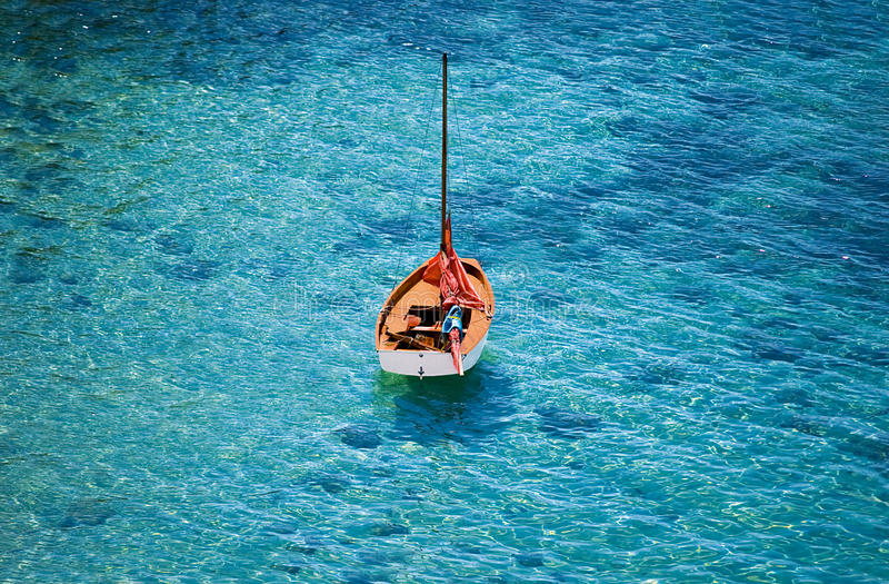 Orange boat on the sea