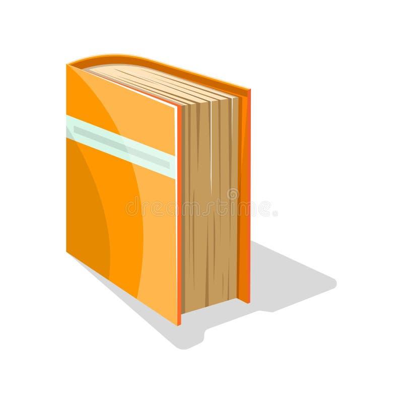 Orange bok i hård räkning med stället för text i stället för titeln som står på sidan stock illustrationer