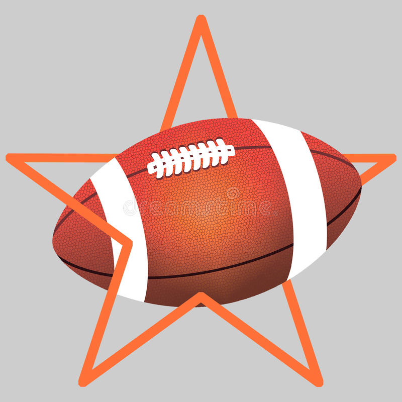 Orange boll för amerikansk fotboll för färg och en apelsin eller en bruntstjärna arkivfoto