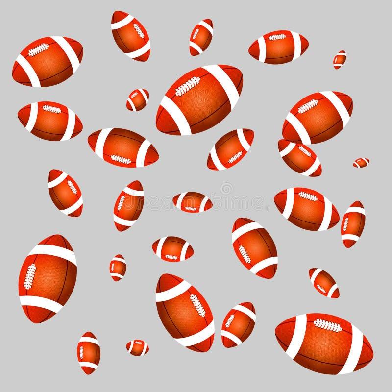 Orange bollar för amerikansk fotboll för färg av olika format royaltyfri foto