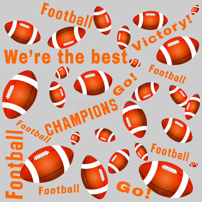 Orange bollar och texter för amerikansk fotboll för färg arkivfoton