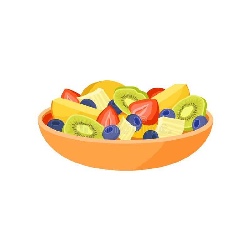Orange bowl with fresh fruits and berries. Organic and healthy food. Vegetarian nutrition. Flat vector icon stock illustration