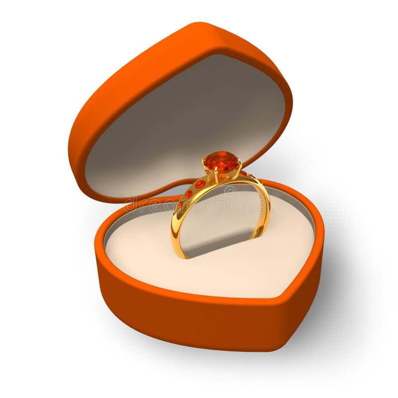 Orange box with golden ring with jewels. Orange heart-shape box with golden ring with jewels isolated on white background stock illustration