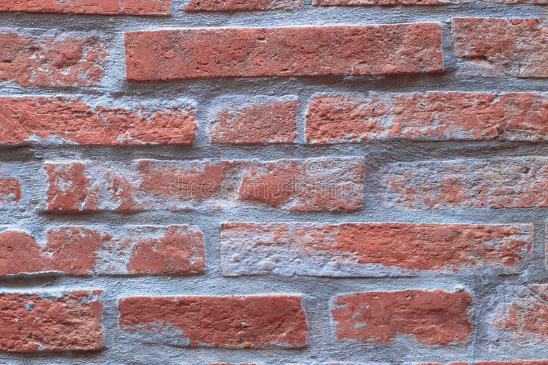 Orange brick wall texture background, tile pattern aged brickwork block royalty free stock images