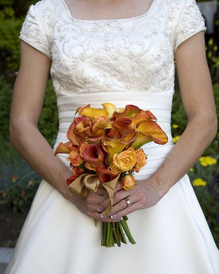 Orange bridal bouquet stock photo