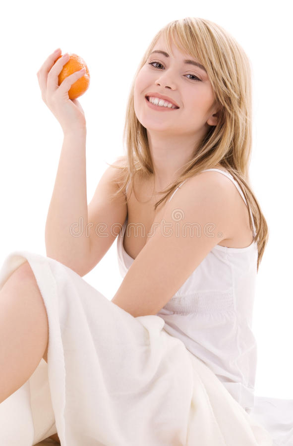 Orange. Bright picture of lovely blonde with orange stock images