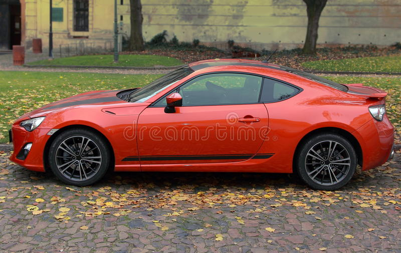 Orange bright sport car outdoor