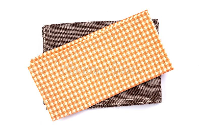 Download A Orange Brown Checkered Napkin Table Clothes On White Backgrou  Stock Image   Image Of
