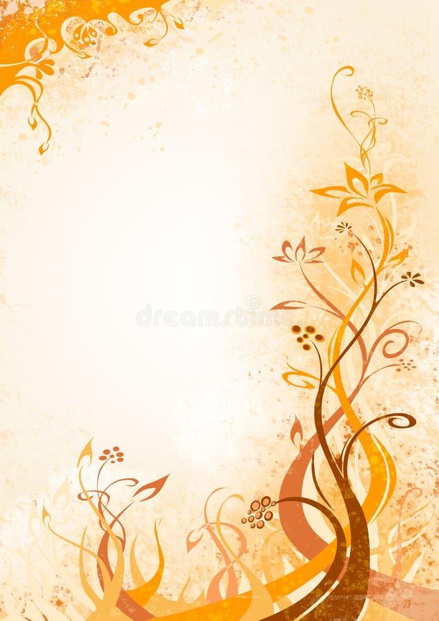 Orange-brown floral background stock illustration