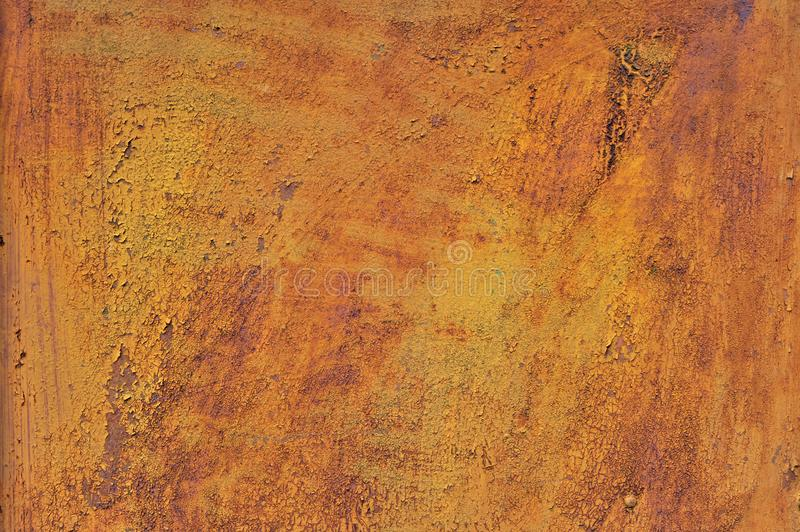 Orange brown old rusted corroded metal or steel sheet. Horizontal wall background as abstract dirty textured metallic vintage industrial closeup for retro royalty free stock photos