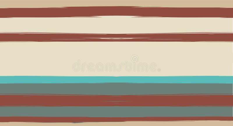 Orange, Brown zeichnet nahtloses Sommer-Muster, Vektor-Aquarell-Seemann Stripes Retro- Weinlese-Mode-Entwurfs-horizontaler Pinsel stock abbildung