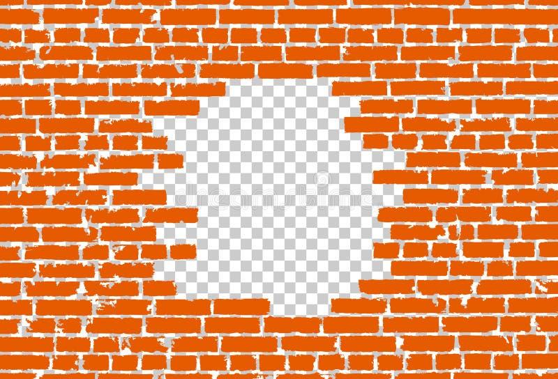 Orange brutet realistiskt gammalt svart begrepp för tegelstenvägg på genomskinlig bakgrund stock illustrationer
