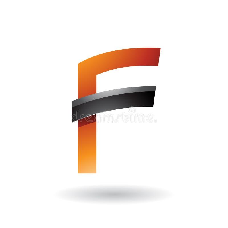 Orange Buchstabe F mit dem schwarzen glatten Stock lokalisiert auf einem weißen Hintergrund stock abbildung