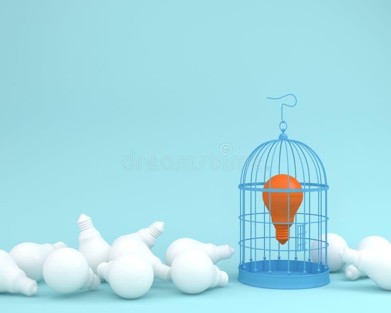 Orange bulb locked in vintage bird cage on blue background wait. For unlock. minimal idea concept of freedom royalty free illustration