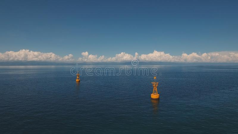 Orange buoy in the sea. royalty free stock photography