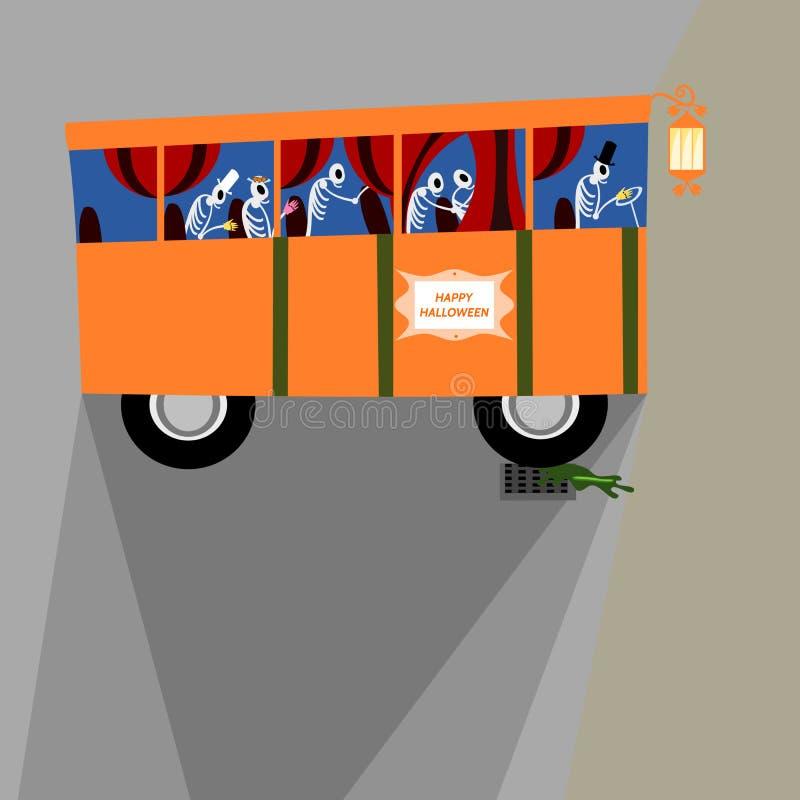 Orange Bus Halloweens mit den Skeletten stock abbildung