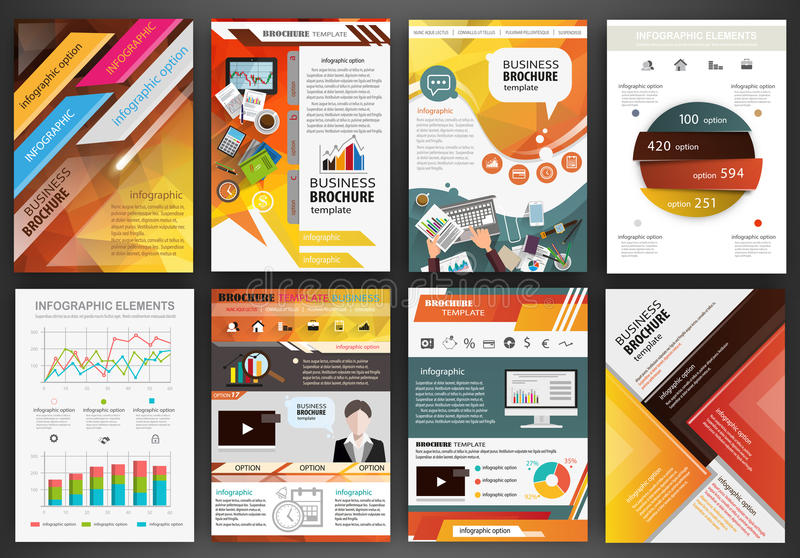 Orange Business Brochure Templates With Infographic Elements Stock