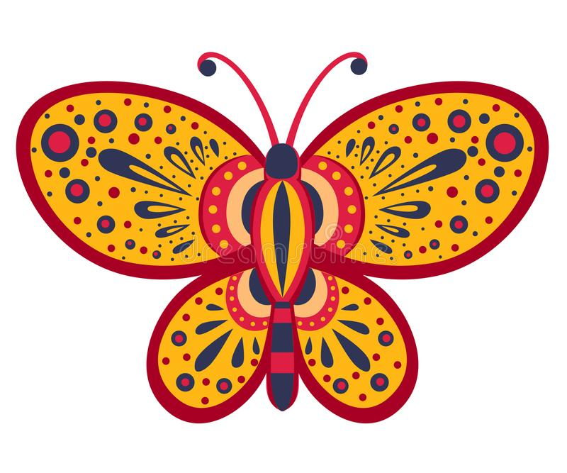 Orange butterfly with abstract pattern. Vector illustration isolated on white background royalty free illustration
