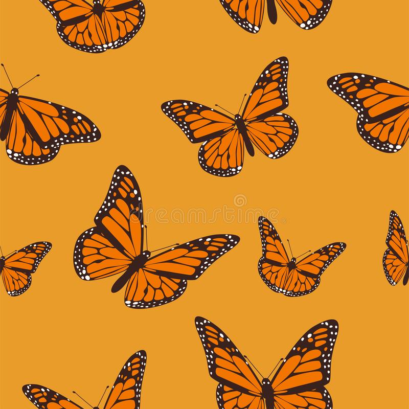 Orange butterfly monarch on a light orange background. seamless pattern. Vector illustration EPS 10 royalty free illustration