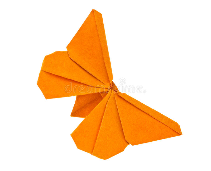 Orange butterfly of origami. stock image