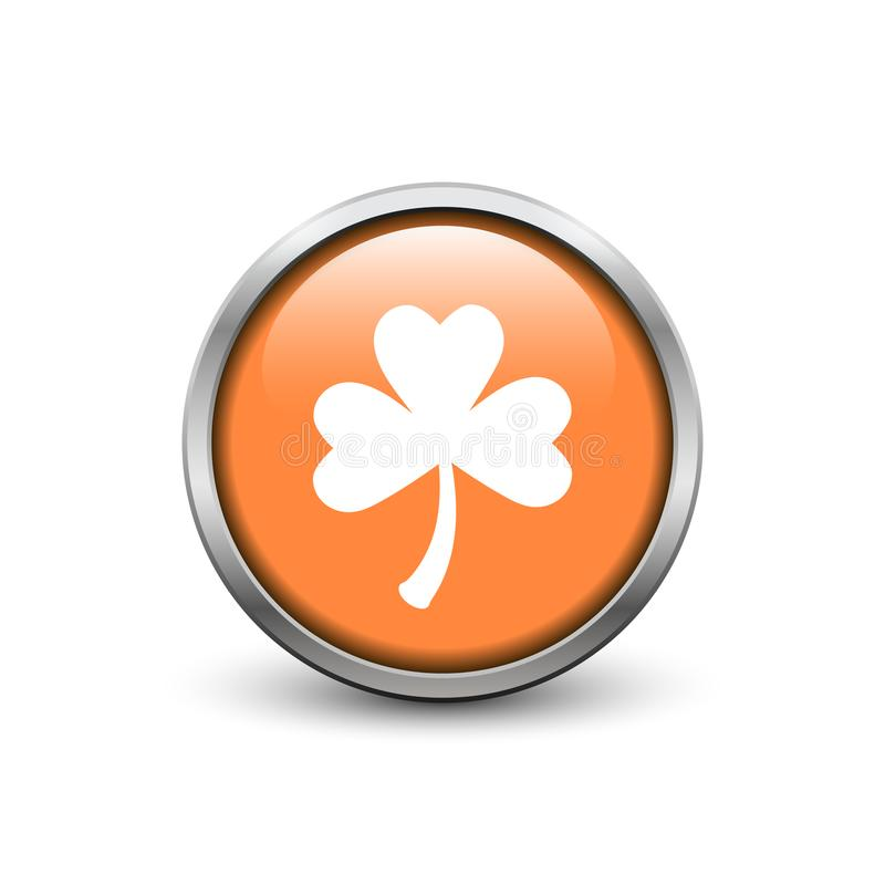 Orange button with white three leaf clover stock images