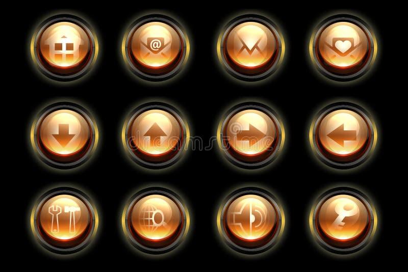 Orange buttons set