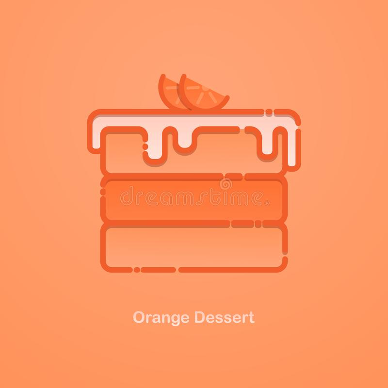 Orange cake. Vector flat llustraition with a piece of cake with oranges stock illustration