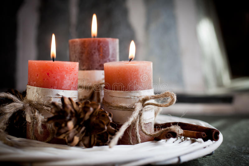 Orange candles stock image