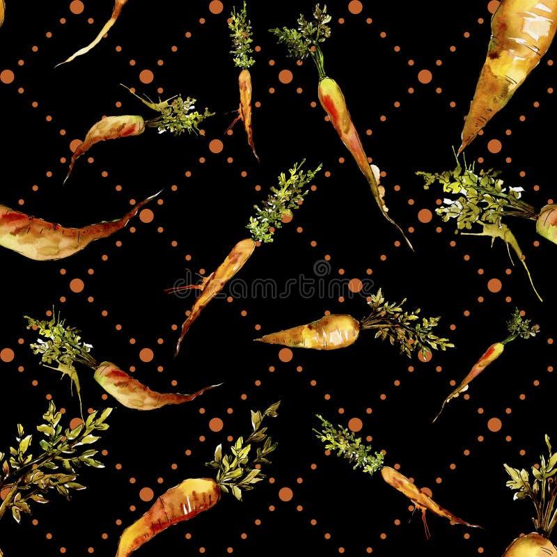 Orange carrot wild vegetable. Seamless background pattern. Fabric wallpaper print texture. Aquarelle wild vegetable for background, texture, wrapper pattern or stock photos