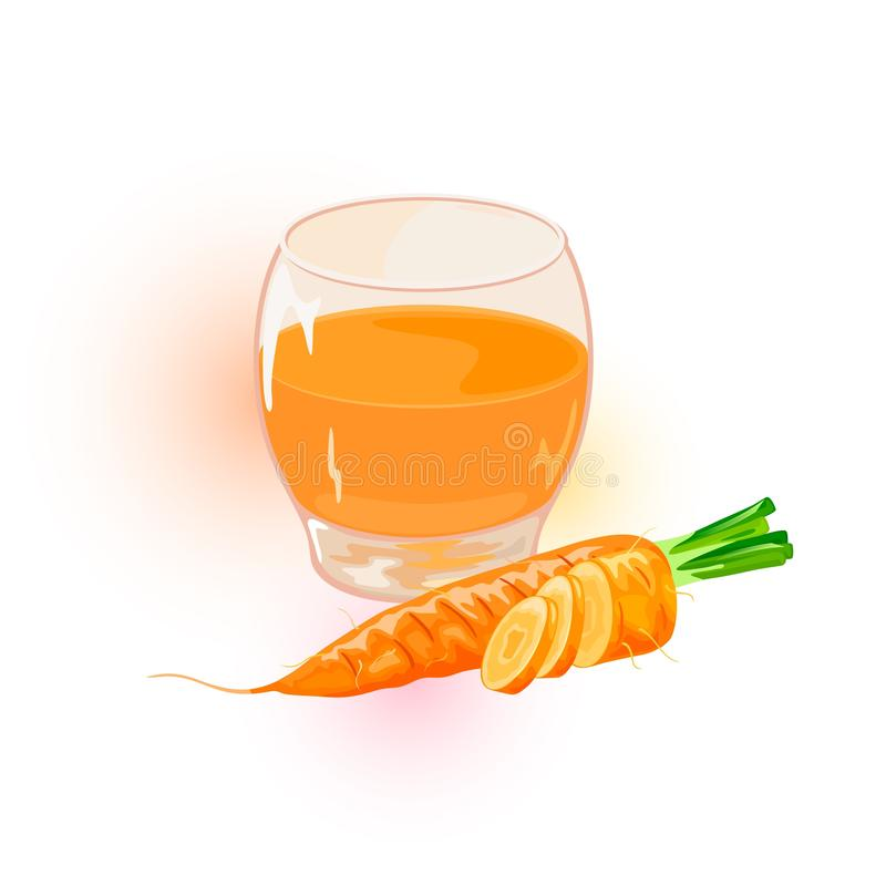Orange carrots, whole and cutted to disks are near glass of juice. Fresh vegetables and beverage. Orange ripe carrots, whole and cutted to disks are near glass stock illustration