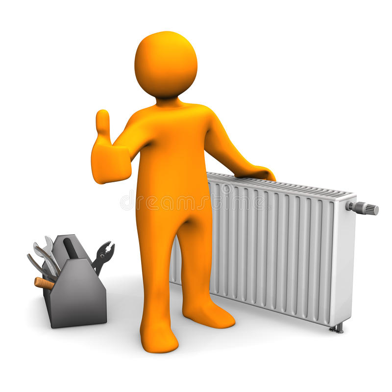 Plumber Heater Ok. Orange cartoon character with radiator and OK symbol royalty free illustration