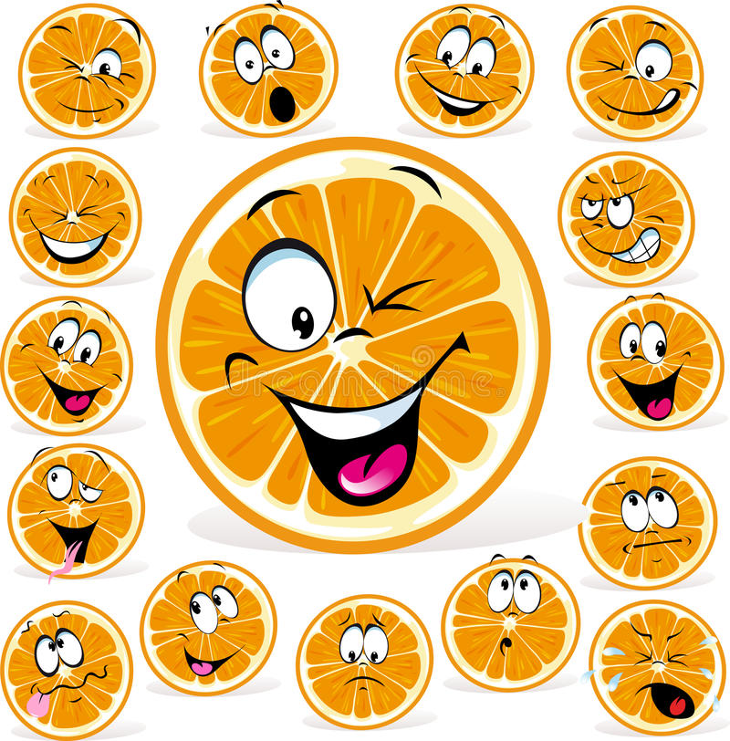 Download Orange Cartoon With Many Expressions Royalty Free Stock Photo - Image: 29876995