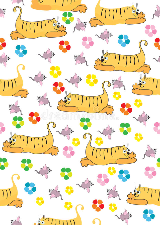 Free Orange Cat And Pink Mouse, Seamless Illustration Stock Image - 23154511