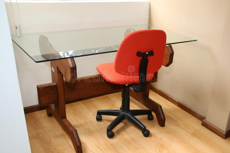 The orange chair and table. royalty free stock photo