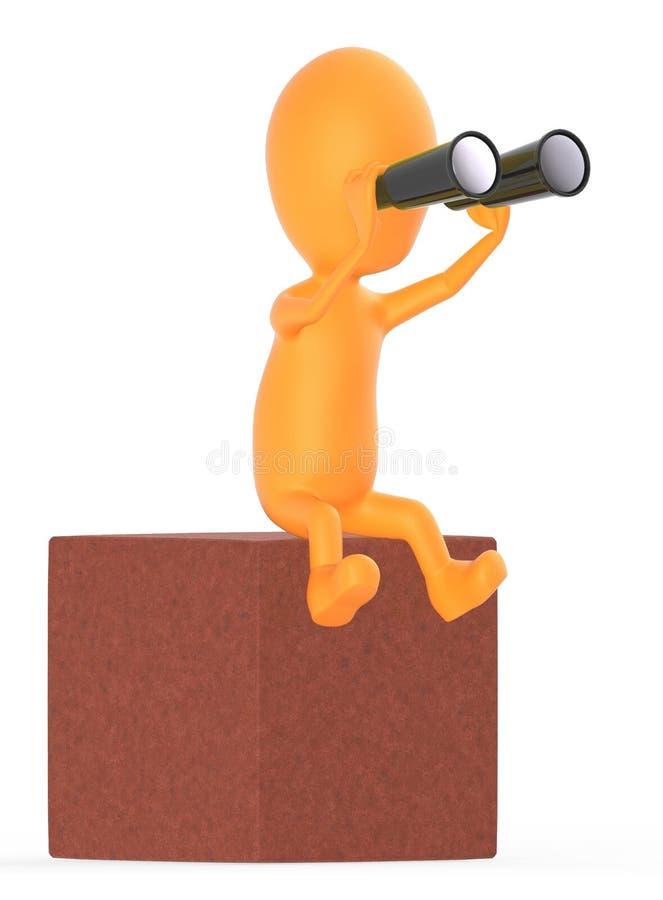 orange Charakter 3d, der durch binokulares beim Sitzen auf einen Block schaut stock abbildung