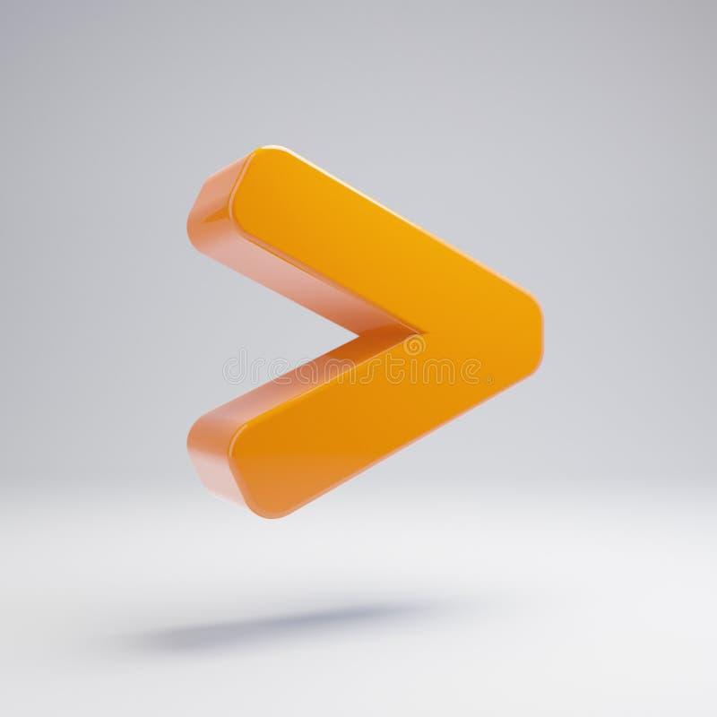Orange chaude brillante volumétrique plus grande que l'icône d'isolement sur le fond blanc illustration de vecteur