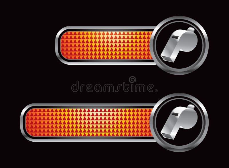 Orange checkered Tabulatoren mit silberner Pfeife lizenzfreie abbildung