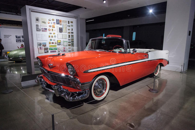 Orange 1956 Chevrolet Bel Air Convertible. Los Angeles, CA, USA — March 4, 2017: Orange 1956 Chevrolet Bel Air Convertible from the collection of Chris royalty free stock photo