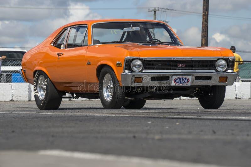 Orange chevrolet nova stock images