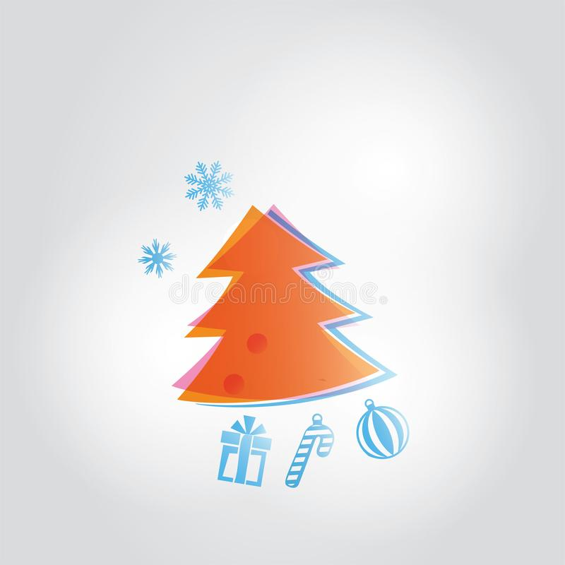 Orange Chrismas tree and blue christmas decorations on grey background. Picture looking like watercolor. Crhistmas card. Minimalism vector illustration
