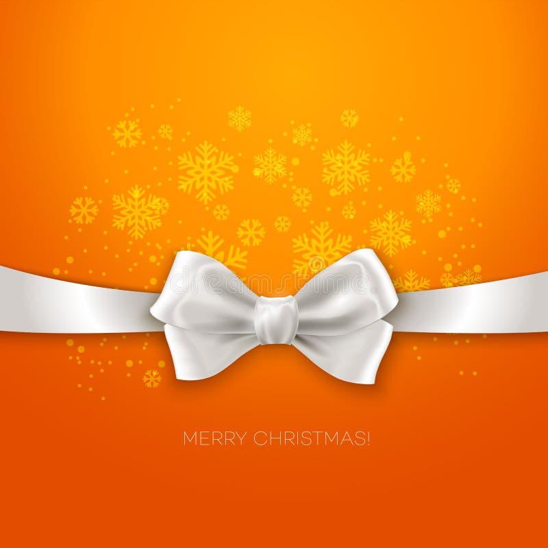 Orange Christmas background ribbon with white silk. Bow Vector illustration royalty free illustration