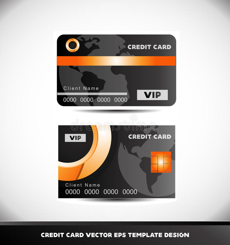 Orange circle black vip credit card vector template stock illustration