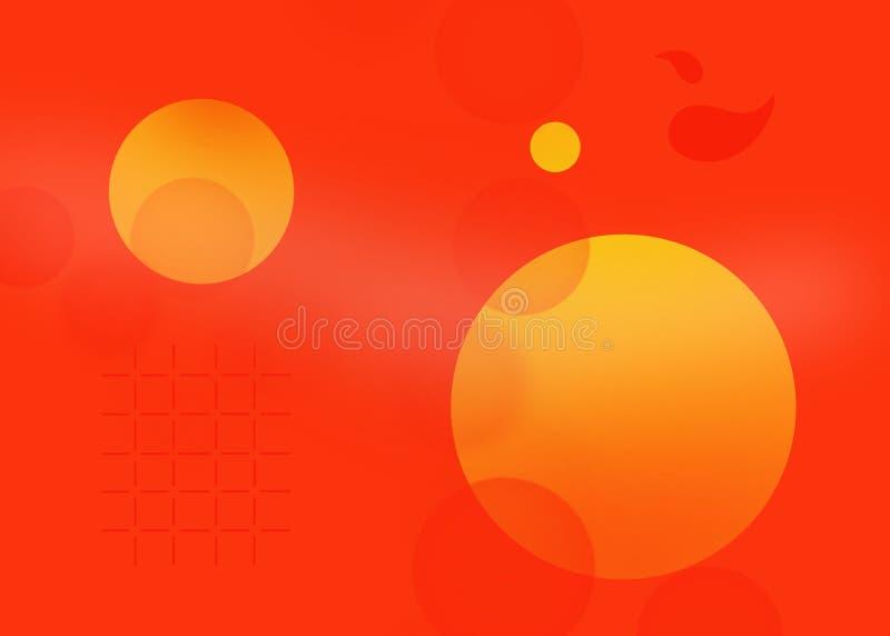 Orange circle shape in red background illustration. Orange circle shape in red background abstract vector illustration