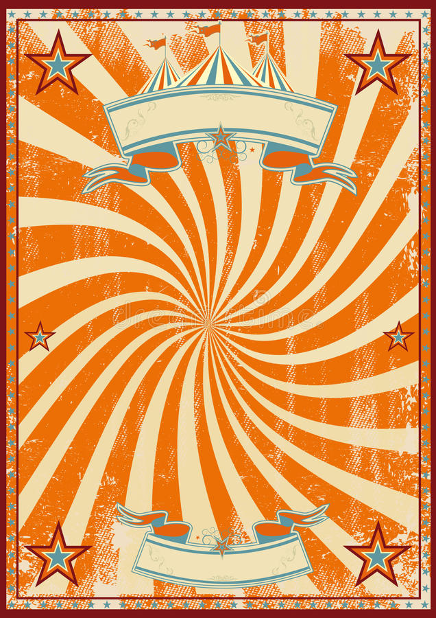 Orange circus retro stock vector illustration of birthday for Circus posters free